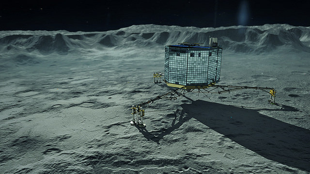 Philae on Comet 67P Churyumov-Gerasimenko