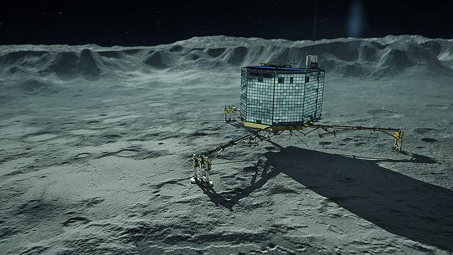 Philae on Comet 67P Churyumov-Gerasimenko